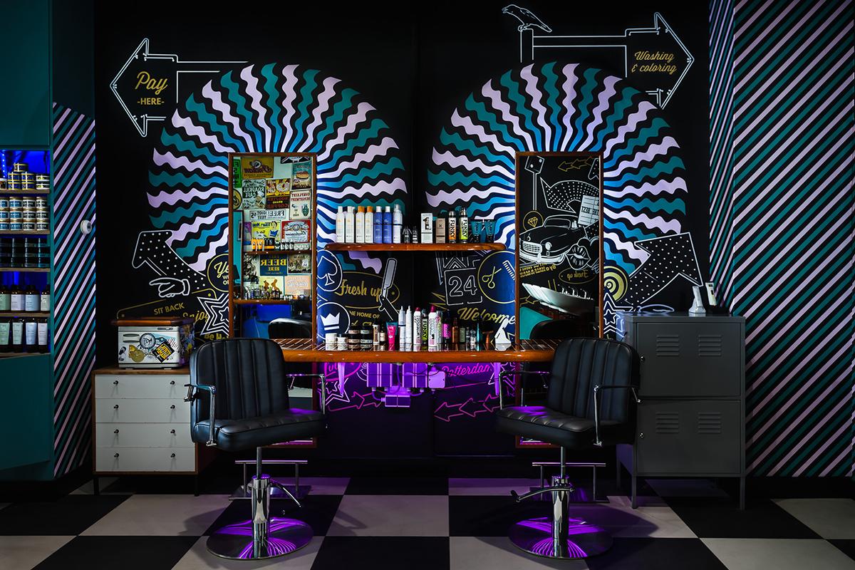 Mudly's Barbershop – Producten en Spiegels